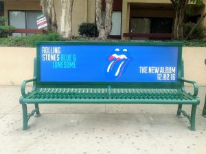 Bus Bench Ad in Los Angeles on La Brea for Rolling Stones